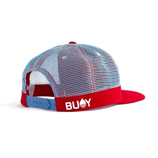 Produktbild BUOY WEAR rote schwimmende Cap mit Snapback - schräg hinten