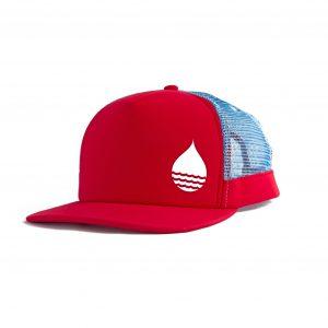Produktbild BUOY WEAR rote schwimmende Cap mit Snapback - schräg vorbe